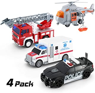 KeepRunning 4 Pack Friction Powered City Hero Play Set Including Fire Engine Truck, Ambulance, Police Car and Helicopter Emergency Vehicles with Light and Sounds / Sirens