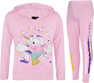 Kids Girls Dab Unicorn Unique Hooded Baby Pink Top & Legging Set Floss Tracksuit