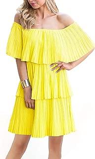 Women's Off The Shoulder Mini Layered Ruffle Dress Summer Short Sleeve Loose Casual Chiffon Party Midi Beach Dress