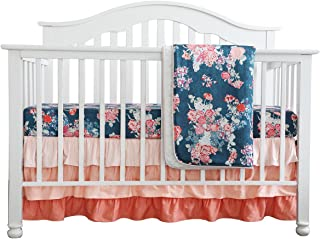 Coral Navy Floral Baby Crib Bedding Set Minky Blanket Crib Rail Cover Peach Navy Floral Girl Crib Set Floral Ruffled Crib Skirt (3 pcs Set)