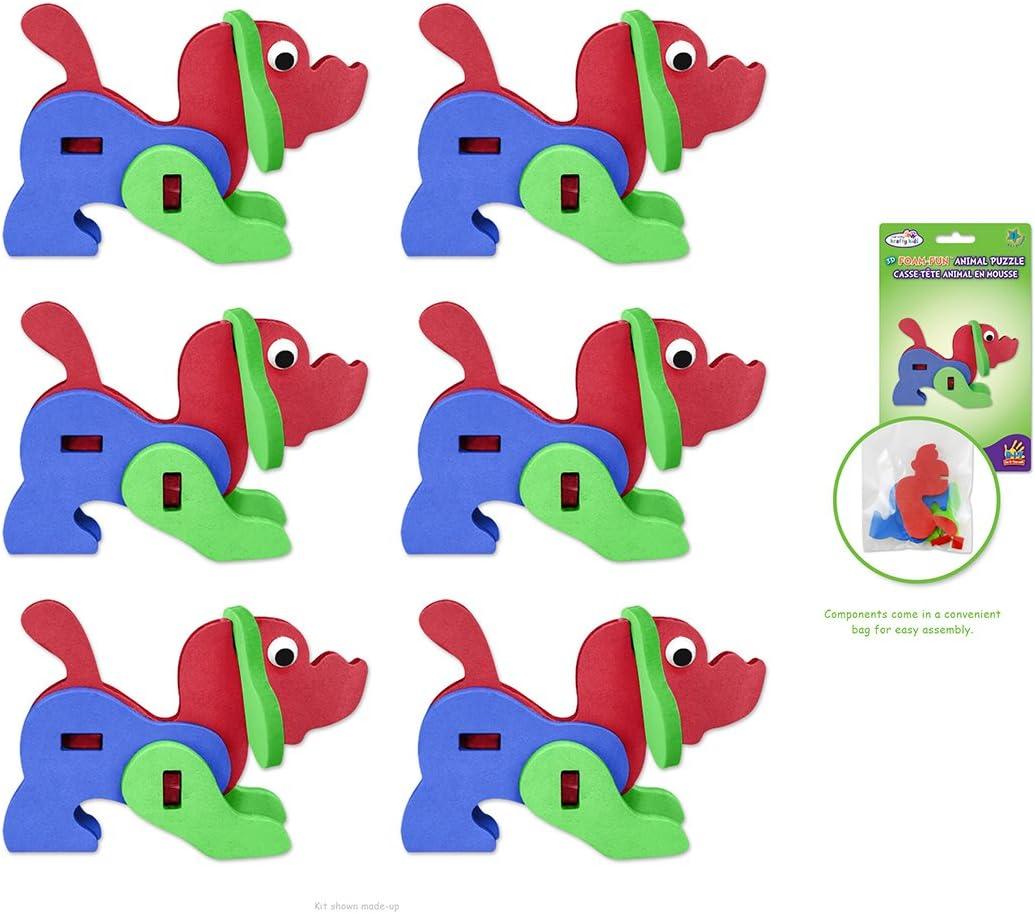 6-Pack Portland Mall Cash special price Krafty Kids DIY Foam Fun Kits Model Puzzle Animal 3D Dog