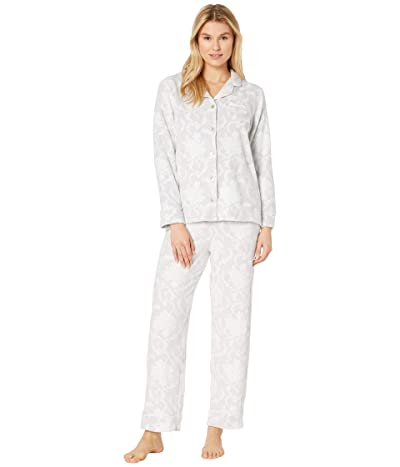 Carole Hochman Cozy Fleece Pajama Set (White/Grey Damask) Women