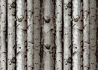 Crazy Cart PVC Simulation White Birch Tree Bark Wood Wallpaper - Grey White