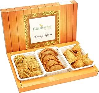 Ghasitaram Gifts Indian Sweets (Mumbai), Holi Hampers, Authentic Indian, Dry Sweets Gujiyas, Farsan Samosas and Methi Mathi Hamper, 550 Grams