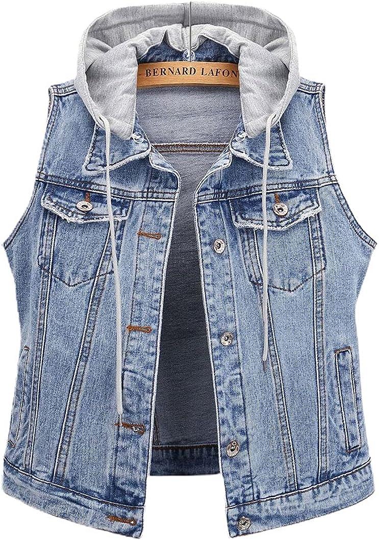 chouyatou Women's Distressed Detachable Hooded Sleeveless Denim Jean Vest Jacket Hoodie