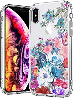 MOSNOVO Case for iPhone Xs/iPhone X, Peony Floral Flower Garden Pattern Printed Clear Design Transparent Plastic Hard Back Case with TPU Bumper Protective Case Cover for iPhone X/iPhone Xs