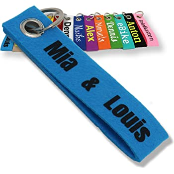 Schlüsselanhänger blau Wunschtext bestickt beidseitig Name Gurtband Farben
