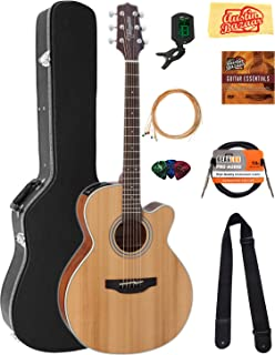 Takamine GN20CE NEX Cutaway Acoustic-Electric Guitar - Natural Satin Bundle with Hard Case, Cable, Tuner, Strap, Strings, Picks, Austin Bazaar Instructional DVD, and Polishing Cloth