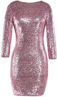TUDUZ Kleider Festlich Langarm Damen V-Ausschnitt Sparkly Stretch Pailletten Bodycon Party Minikleid Freundin Kreativ Geschenk