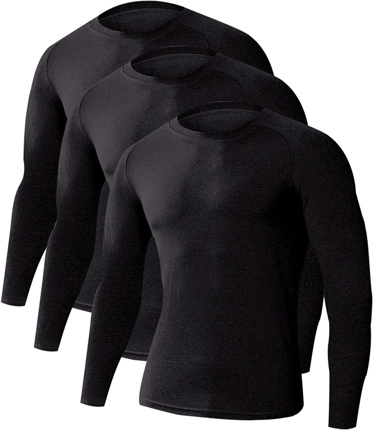 LNJLVI Men's 3 Pack Athletic Long Shirts Compression Base Very popular Layer Industry No. 1