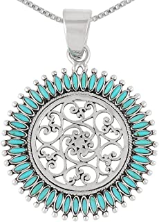 Floral Design Necklace 925 Sterling Silver & Genuine Turquoise Pendant with 24