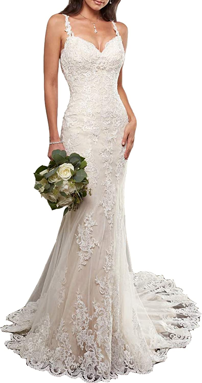 Alanre Open Back Bridal Gown Lace Mermaid Bride Wedding Dress for Women  Chapel Train