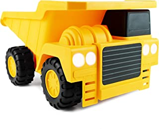 """Boley Large Jumbo Dump Truck Construction Vehicle - 18"""" Button-Activated Light & Sound Construction Toys with Moveable Load Container, Perfect Car Truck Toy for Toddler Boys Girls Kids"""
