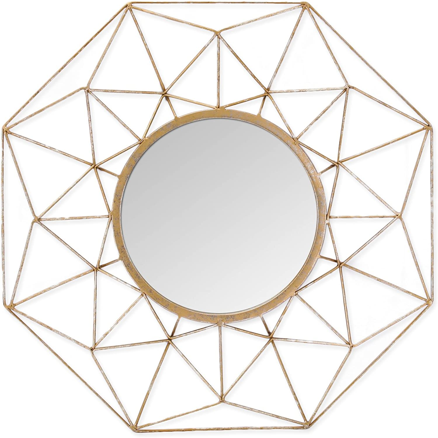 Adeco Decorative Metal Round Wall Sunburst Mirror - gold color - 23.7x23.7 Inches