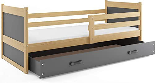 Kinderbett RICO 190x90cm Kiefer + 2. Farbe zur Wahl; mit Lattenrost und Matratze (grau)