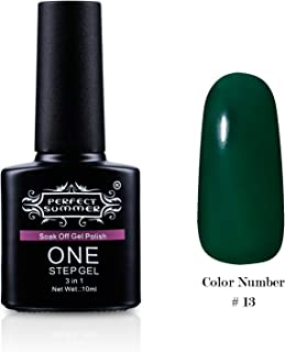 Perfect Summer One Step Gel Nail Polish No Need Base Coat and Top Coat UV LED Soak Off 10ml Nail Lacquers French Manicure Color #13 emerald green