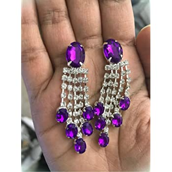 Amazing Extreme Large Shiny Purple Cactus Flower Crystal Drop Dangle Earrings