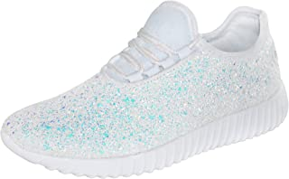 ROXY ROSE Women Fashion Jogger Sneaker - Lightweight Glitter Quilted Lace Up Shoes & Elastic Tongue