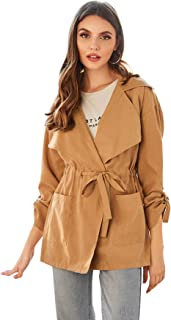 Milumia Women's Waterfall Collar Long Sleeve Hooded Drawstring Cardigan Jacket with Pocket