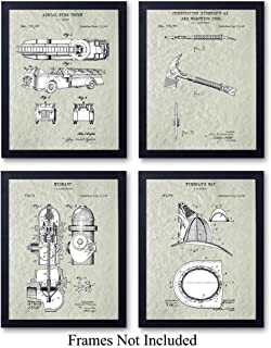 Firefighters Patent Wall Art Prints - Set of Four (8x10) Vintage Unframed Photos - Perfect Gift For Firemen and First Responders, Great For Home Decor - Cream