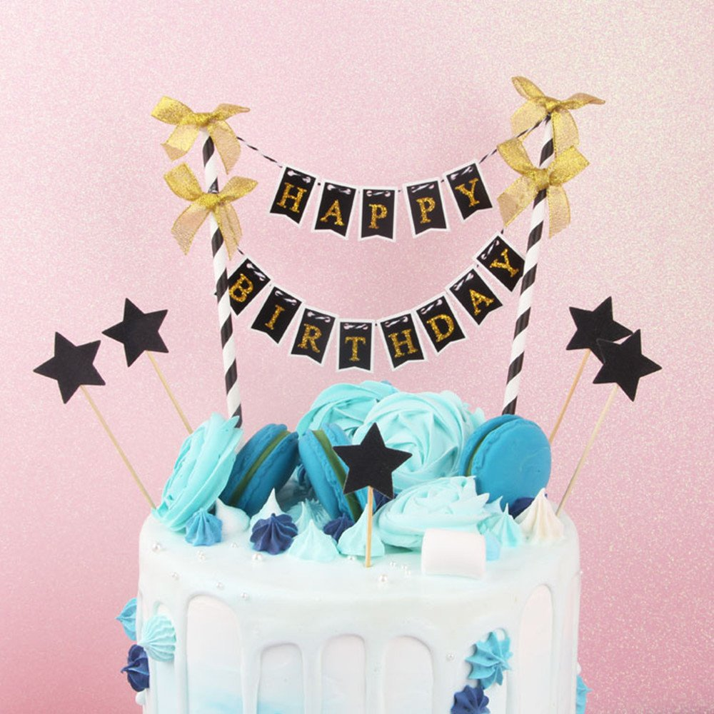 Diy Party Cake Decoration Supplies Handmade Pennant Flags Mini Happy Birthday Cake Bunting Banner Cake Topper Garland Hb Black Amazon Com Grocery Gourmet Food