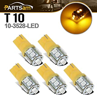 Partsam T10 LED Light Bulbs 5pcs 10-3528-SMD Chipset 194 168 Amber LED Replacement Bulbs Compatible with Jeep/Ford/Dodge/Chevrolet/GMC Pickup Truck Cab Marker Roof Running Top Light 12V (Pack of 5)