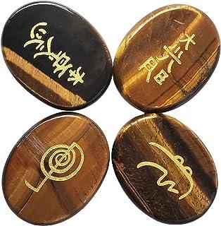 """N/A"" 4 Pcs Natural Tiger's Eye Reiki Balancing Engraved Chakra Stones Palm Stone,1.77 Inchs Crystals and Healing Stones"
