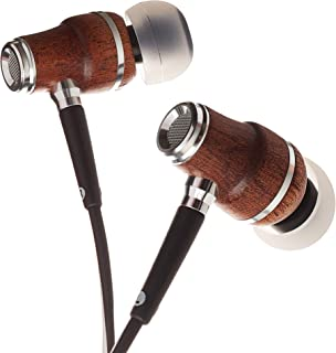 Symphonized NRG X Sapele Wood Earbuds, Ergonomic Design in-Ear Noise-Isolating Headphones, Earphones with Angle-Fit Ear Tips, in-line Microphone and Volume Control, Stereo Earphones (Black & White)