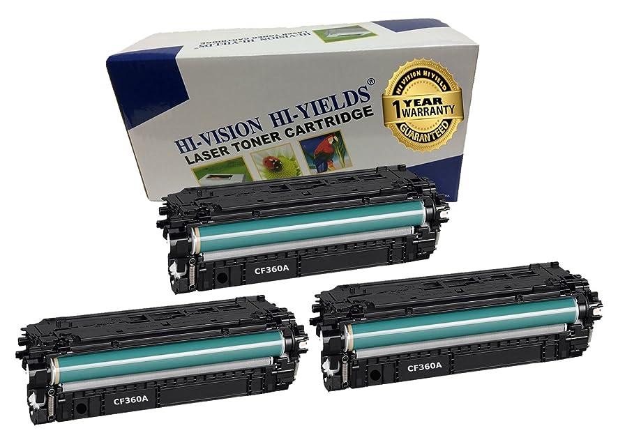 HI-VISION 3 PK Compatible HP 508A [CF360A] BLACK Laserjet Toner Cartridge Replacement for Color LaserJet M553dn, M553n, M577dn, M577f, M577Z (6,000 Pages)