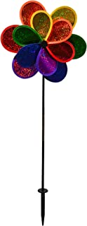 In the Breeze 2725 Mylar Rainbow Sparkle Double Flower Spinner, 14-Inches
