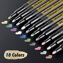 Metallic Marker Pens for Black Paper, XSG Set of 10 Colors Paint Markers for Rock Painting, Card Making,DIY Photo Album, Scrapbook Crafts, Metal, Wood, Ceramic, Glass (Medium tip)