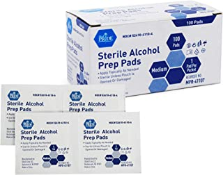 Medpride Alcohol Prep Pads| 100 Pack| Medical-Grade, Sterile, Individually-Wrapped, Isopropyl Cotton Swabs| Disposable, Medium Square Size, 2ply, Latex Free & Antiseptic| for Medical & First-Aid Kits