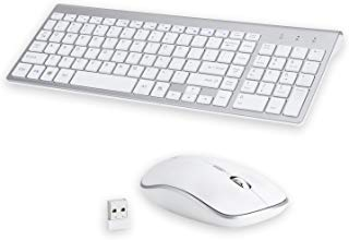 Wireless Keyboard and Mouse Combo,Attoe 2.4GHz Gaming Wireless Keyboard and 800/1200/1600DPI Mouse,Silent Clicks for Windows/Mac/Linux (White)