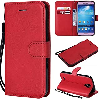 Samsung Galaxy Cases Premium Retro Business Solid Color Full Coverage PU Leather Shockproof Magnetic Flip Case for Samsung Galaxy S4 i9500, with Holder Card Slots Wallet Wrist Strap (Color : Red)