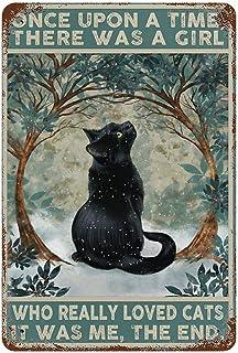 GDRAY Plaque en métal Vintage en Forme de Chat Noir Once Upon A Time - Affiche publicitaire - Cadeau pour Homme - pour Cav...