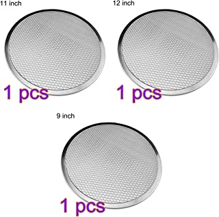 Adava 3 PCS Pizza Pans Round Pizza Tray with Holes Carbon Steel Perforated Pizza Crisper Pan with Nonstick Coating for Restaurant Type Home Kitchen Barbecue