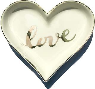 onederful Ceramic Love Heart Shape Ring Dish Holder Trinket Dish Holder Jewelry Holder,Engagment Wedding Gifts for Girls,Women,Newlyweds and Bridal