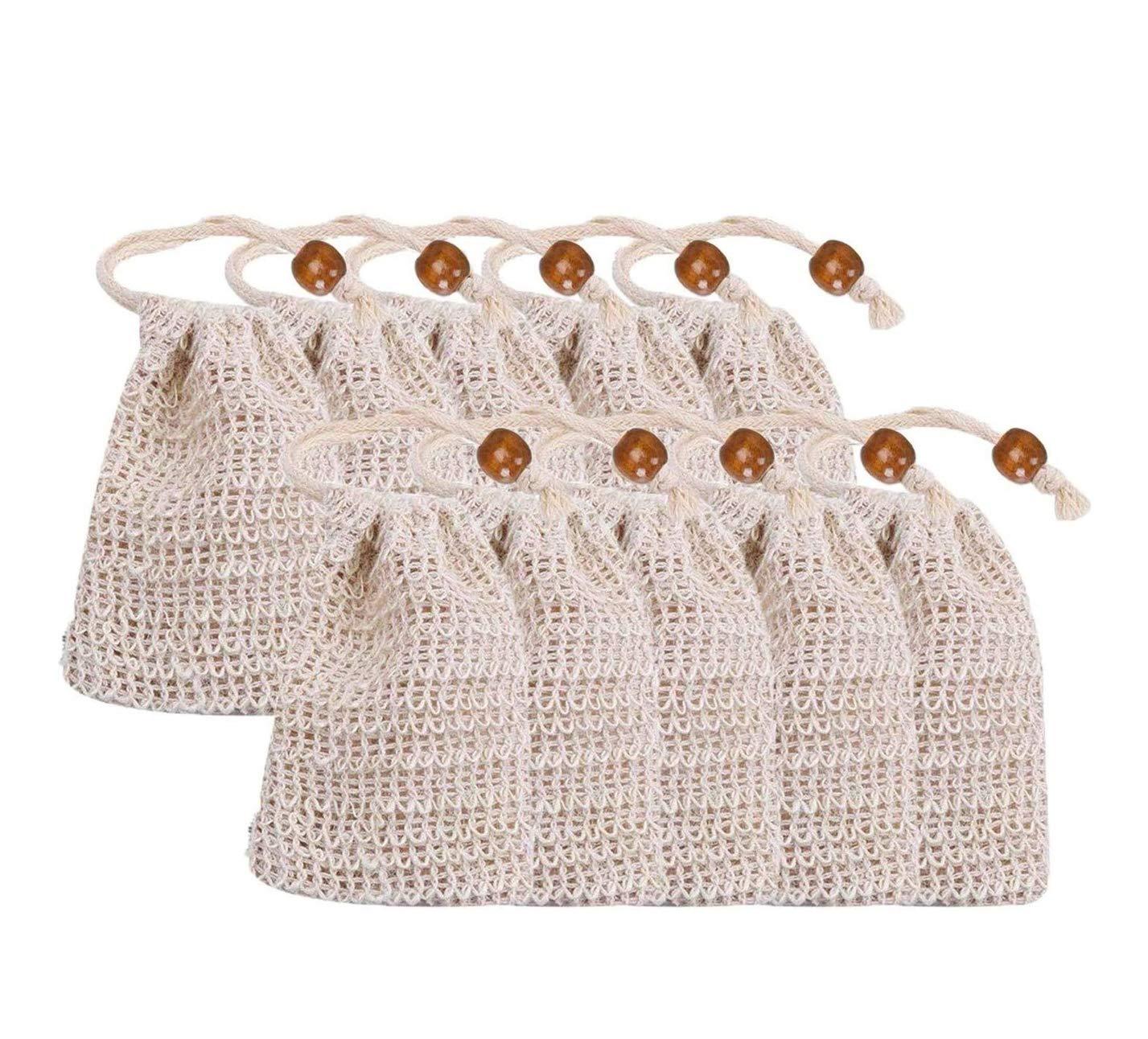 Sisal Soap Bags 10 Pack trust Ranking TOP14 Natural Drawstring Mesh Exfoliating