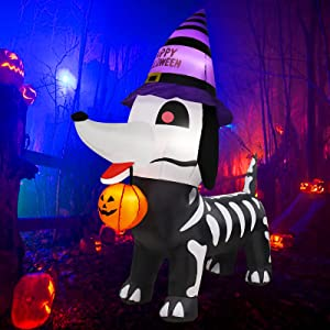 6 Foot Halloween Inflatable Outdoor Skeleton Dog with Witch Hat and Pumpkin Blow Up Standing Dog Decoration with LED Lights 4 Stakes 2 Tethers 2 Sandbag Halloween Decorations Outdoor Holiday Yard Lawn