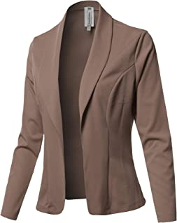 Made by Emma Women's Casual Classic Work Solid 3/4 Shirring Stretch Knit Blazer Jacket