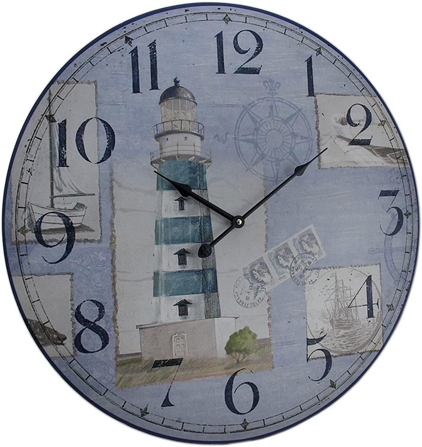 Zeckos bluee and White Nautical Lighthouse Round Wooden Wall Clock