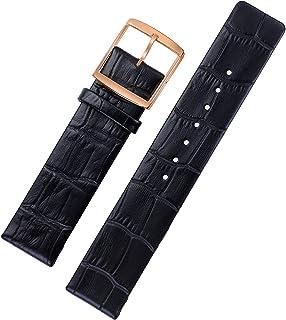 58d39eba00db YUHUS Home 16mm Reemplazo de Cuero Negro Correas de Reloj Perfil Recto  Diseño Elegante para Mujeres