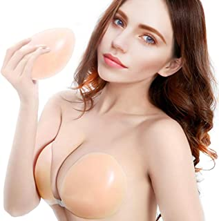 Adhesive Bra, Silicone Sticky Strapless Bra Reusable Invisible Push Up Bra (Natural Beige)