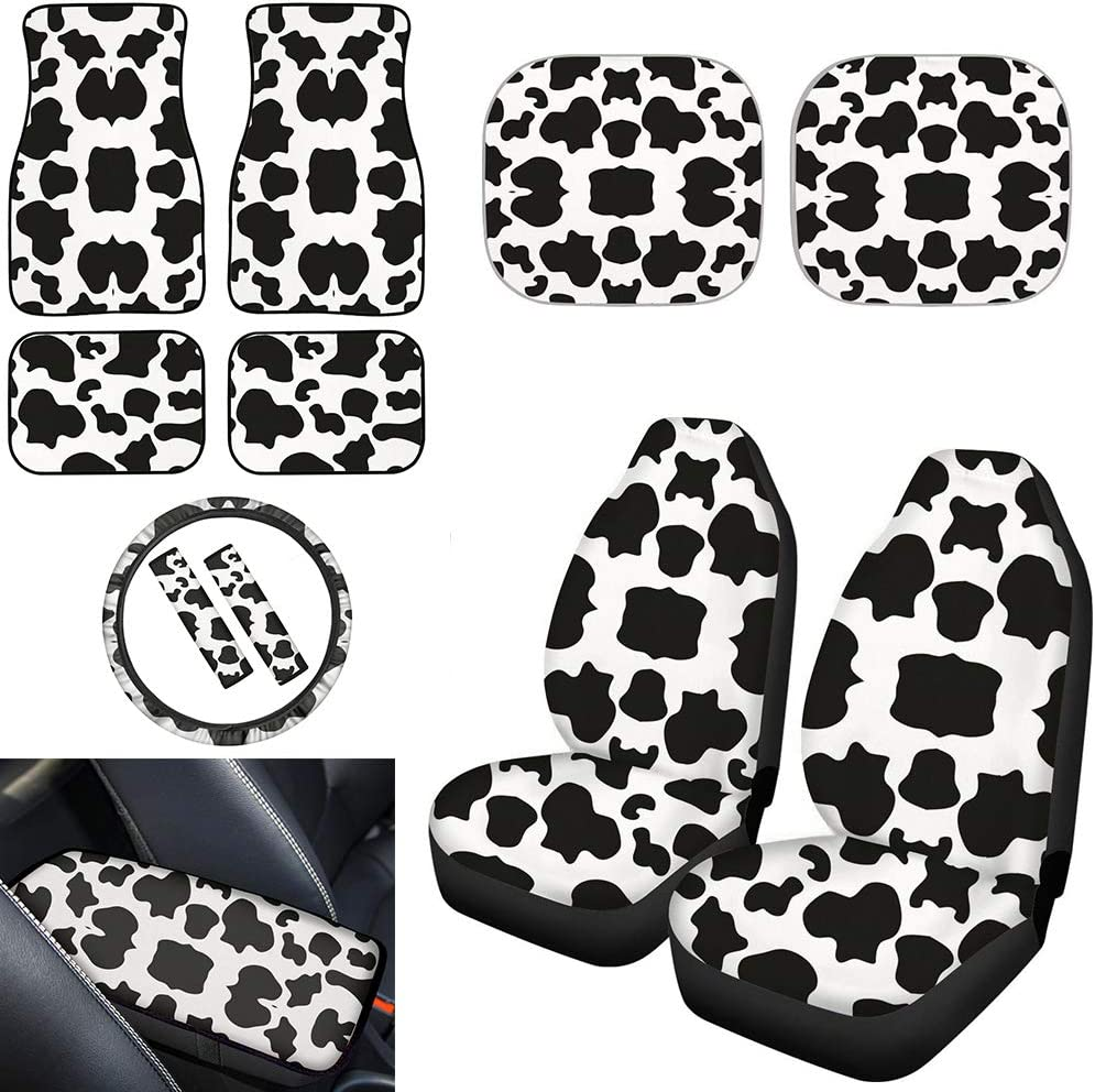 TOADDMOS Cute Max 73% OFF White Cow Animal Car Set Accessories Print Free Shipping New Univers