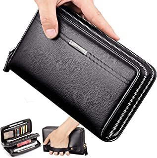 Mens Wallet Long Leather Cellphone Clutch Wallet Purse for Men Business Hand Cluth Bag Cell Phone Holster Card Holder Card Lots Case Large Travel Wallet Gift for Father Husband Boyfriend (Black)
