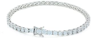 Bling Bling NY Unisex Tennis Bracelet 3mm 4mm Round Cut Cubic Zirconia Real Solid 925 Sterling Silver Tennis Bracelet