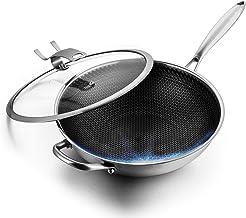 Flat Bottom Wok,Full Honeycomb Non Stick Wok Pan,304 Stainless Steel Stir Fry Pan with Lid,32cm