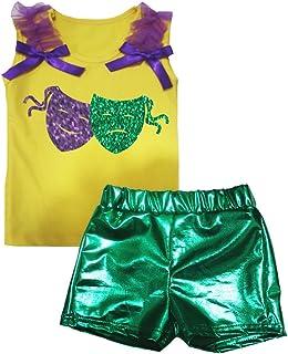 Petitebella Girls' Mardi Gras Masks Cotton Shirt Green Bling Short Set