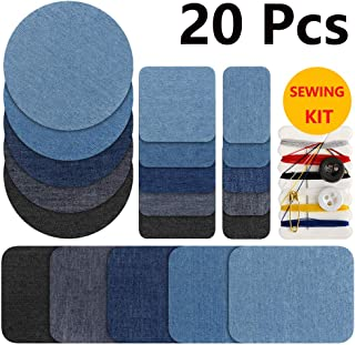 Iron on Jean Patches Denim Fabric Patches for Clothing 20 Pieces Knee Pant Patches for Kids Women Men Cotton Sewing Jean Repair Kit (4 Sizes & 5 Colors)