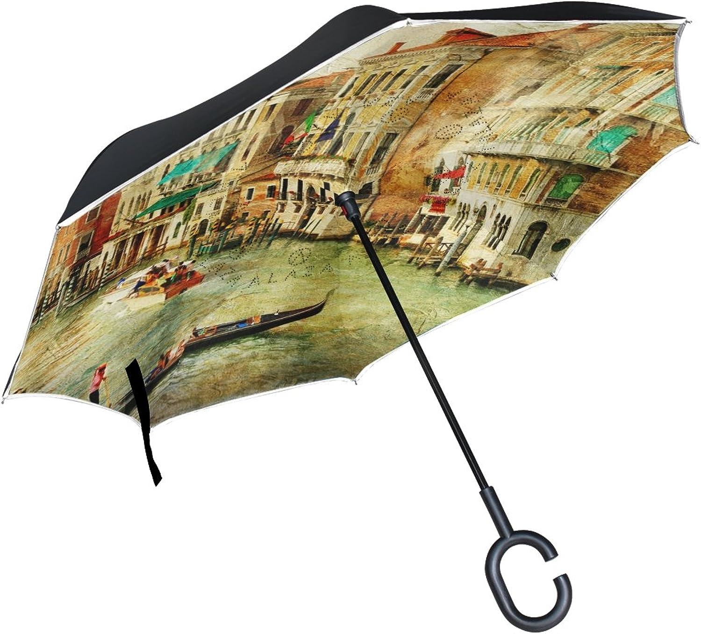 Mydaily Double Layer Ingreened Umbrella Cars Reverse Umbrella Venice Landscape Vintage Painting, Windproof UV Proof Travel Outdoor Umbrella